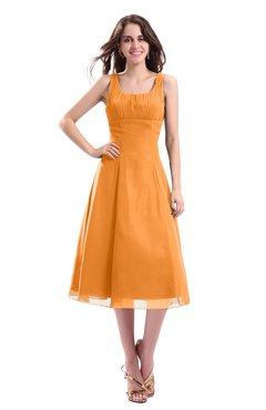 ColsBM Annabel Orange Simple A-line Chiffon Tea Length Pleated Cocktail Dresses