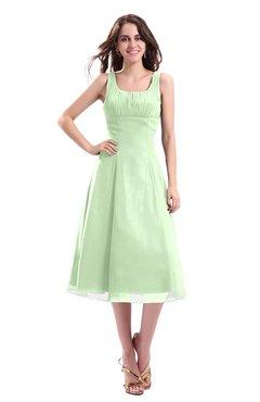ColsBM Annabel Pale Green Simple A-line Chiffon Tea Length Pleated Cocktail Dresses