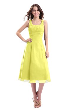 ColsBM Annabel Pale Yellow Simple A-line Chiffon Tea Length Pleated Cocktail Dresses