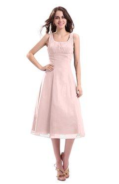 ColsBM Annabel Pastel Pink Simple A-line Chiffon Tea Length Pleated Cocktail Dresses
