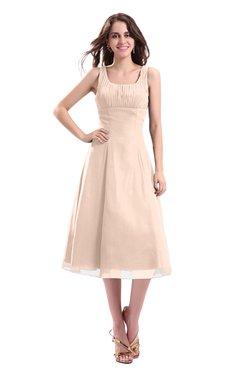 ColsBM Annabel Peach Puree Simple A-line Chiffon Tea Length Pleated Cocktail Dresses