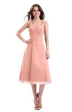 ColsBM Annabel Peach Simple A-line Chiffon Tea Length Pleated Cocktail Dresses