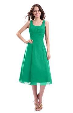 ColsBM Annabel Pepper Green Simple A-line Chiffon Tea Length Pleated Cocktail Dresses
