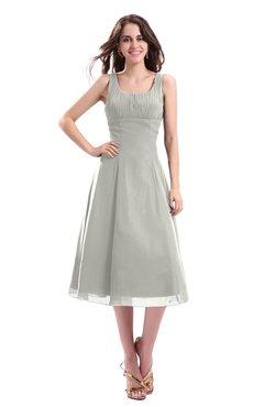 ColsBM Annabel Platinum Simple A-line Chiffon Tea Length Pleated Cocktail Dresses