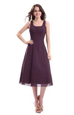 ColsBM Annabel Plum Simple A-line Chiffon Tea Length Pleated Cocktail Dresses
