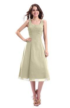 ColsBM Annabel Putty Simple A-line Chiffon Tea Length Pleated Cocktail Dresses