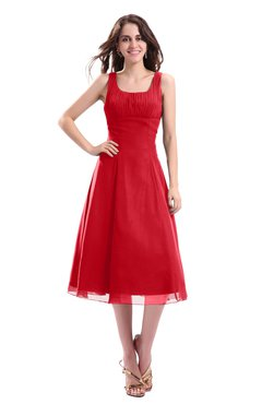 ColsBM Annabel Red Simple A-line Chiffon Tea Length Pleated Cocktail Dresses