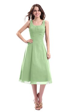 ColsBM Annabel Sage Green Simple A-line Chiffon Tea Length Pleated Cocktail Dresses