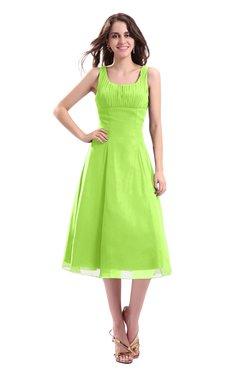 ColsBM Annabel Sharp Green Simple A-line Chiffon Tea Length Pleated Cocktail Dresses