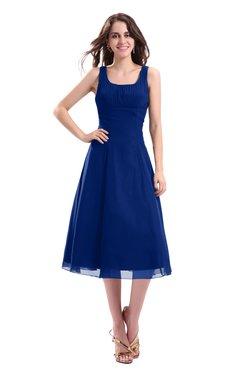 ColsBM Annabel Sodalite Blue Simple A-line Chiffon Tea Length Pleated Cocktail Dresses