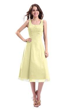 ColsBM Annabel Soft Yellow Simple A-line Chiffon Tea Length Pleated Cocktail Dresses