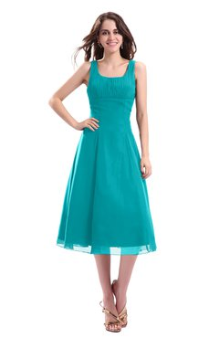ColsBM Annabel Teal Simple A-line Chiffon Tea Length Pleated Cocktail Dresses