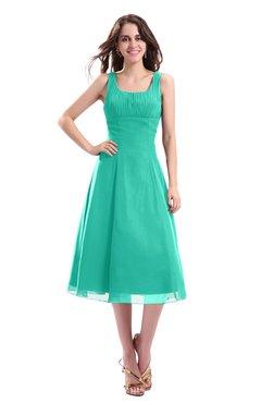 ColsBM Annabel Viridian Green Simple A-line Chiffon Tea Length Pleated Cocktail Dresses
