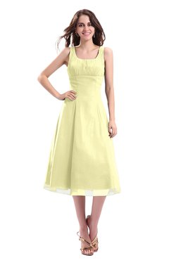 ColsBM Annabel Wax Yellow Simple A-line Chiffon Tea Length Pleated Cocktail Dresses