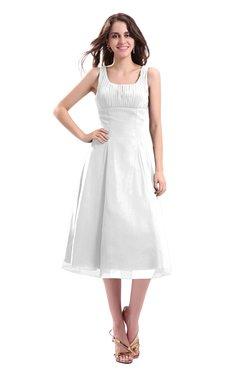 ColsBM Annabel White Simple A-line Chiffon Tea Length Pleated Cocktail Dresses