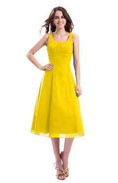 ColsBM Annabel Yellow Simple A-line Chiffon Tea Length Pleated Cocktail Dresses