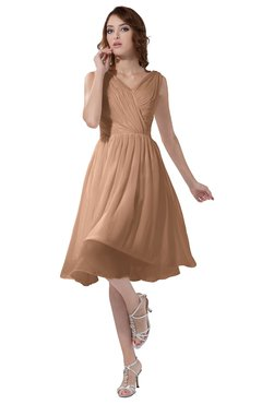 ColsBM Alexis Almost Apricot Simple A-line V-neck Zipper Knee Length Ruching Party Dresses