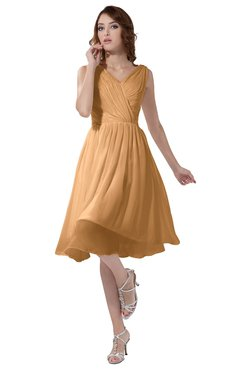 ColsBM Alexis Apricot Simple A-line V-neck Zipper Knee Length Ruching Party Dresses