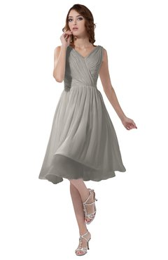 ColsBM Alexis Ashes Of Roses Simple A-line V-neck Zipper Knee Length Ruching Party Dresses