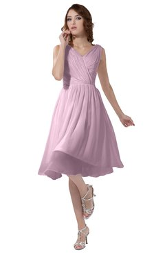 ColsBM Alexis Baby Pink Simple A-line V-neck Zipper Knee Length Ruching Party Dresses