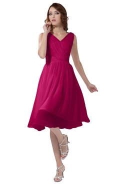 ColsBM Alexis Beetroot Purple Simple A-line V-neck Zipper Knee Length Ruching Party Dresses