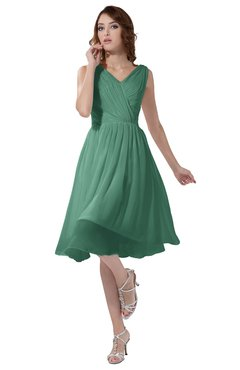 ColsBM Alexis Beryl Green Simple A-line V-neck Zipper Knee Length Ruching Party Dresses