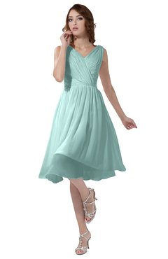 ColsBM Alexis Blue Glass Simple A-line V-neck Zipper Knee Length Ruching Party Dresses