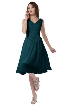 ColsBM Alexis Blue Green Simple A-line V-neck Zipper Knee Length Ruching Party Dresses