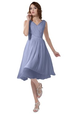 ColsBM Alexis Blue Heron Simple A-line V-neck Zipper Knee Length Ruching Party Dresses
