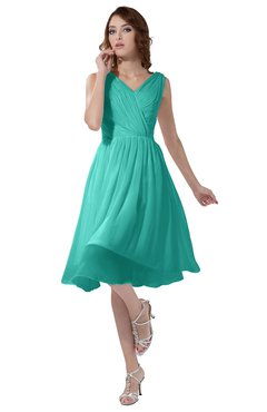 ColsBM Alexis Blue Turquoise Simple A-line V-neck Zipper Knee Length Ruching Party Dresses