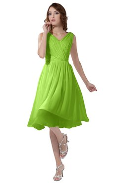 ColsBM Alexis Bright Green Simple A-line V-neck Zipper Knee Length Ruching Party Dresses