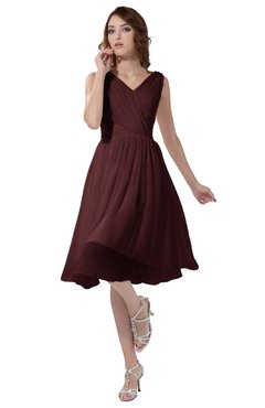 ColsBM Alexis Burgundy Simple A-line V-neck Zipper Knee Length Ruching Party Dresses