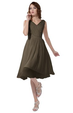 ColsBM Alexis Carafe Brown Simple A-line V-neck Zipper Knee Length Ruching Party Dresses