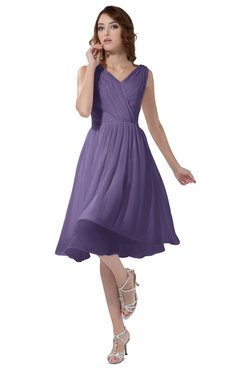 ColsBM Alexis Chalk Violet Simple A-line V-neck Zipper Knee Length Ruching Party Dresses