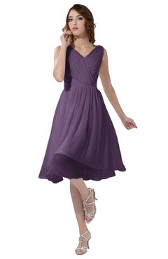 ColsBM Alexis Chinese Violet Simple A-line V-neck Zipper Knee Length Ruching Party Dresses