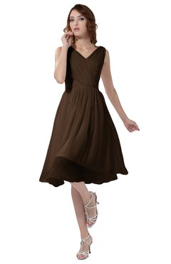 ColsBM Alexis Chocolate Brown Simple A-line V-neck Zipper Knee Length Ruching Party Dresses