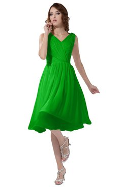 ColsBM Alexis Classic Green Simple A-line V-neck Zipper Knee Length Ruching Party Dresses