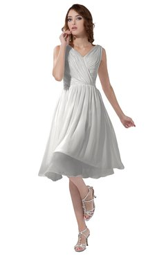 ColsBM Alexis Cloud White Simple A-line V-neck Zipper Knee Length Ruching Party Dresses