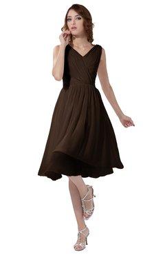 ColsBM Alexis Copper Simple A-line V-neck Zipper Knee Length Ruching Party Dresses