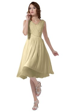 ColsBM Alexis Cornhusk Simple A-line V-neck Zipper Knee Length Ruching Party Dresses