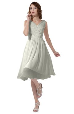 ColsBM Alexis Cream Simple A-line V-neck Zipper Knee Length Ruching Party Dresses