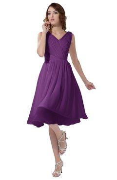 ColsBM Alexis Dahlia Simple A-line V-neck Zipper Knee Length Ruching Party Dresses