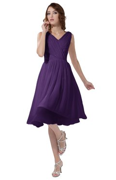 ColsBM Alexis Dark Purple Simple A-line V-neck Zipper Knee Length Ruching Party Dresses