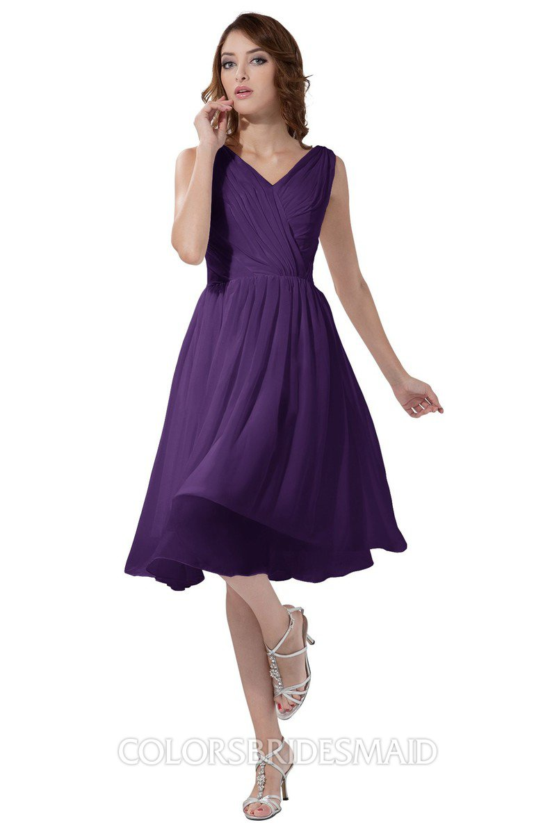 89f92980eed ColsBM Alexis Dark Purple Simple A-line V-neck Zipper Knee Length Ruching  Party