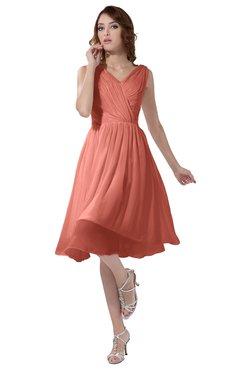 ColsBM Alexis Desert Flower Simple A-line V-neck Zipper Knee Length Ruching Party Dresses