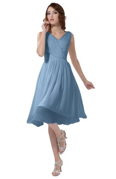 04814124a05 ColsBM Alexis Dusty Blue Simple A-line V-neck Zipper Knee Length Ruching  Party