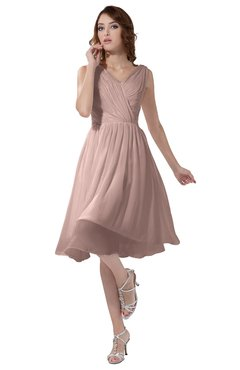 ColsBM Alexis Dusty Rose Simple A-line V-neck Zipper Knee Length Ruching Party Dresses