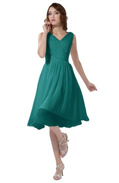 ColsBM Alexis Emerald Green Simple A-line V-neck Zipper Knee Length Ruching Party Dresses