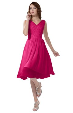 ColsBM Alexis Fandango Pink Simple A-line V-neck Zipper Knee Length Ruching Party Dresses