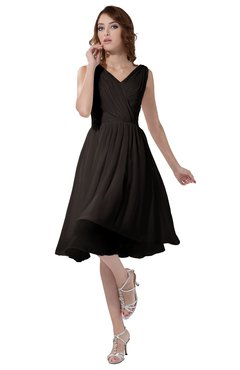 ColsBM Alexis Fudge Brown Simple A-line V-neck Zipper Knee Length Ruching Party Dresses
